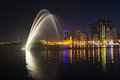 Musical fountain show sharjah uae october the sharjah is one of the biggest fountains in the region Stock Images