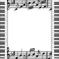 Musical frame illustration of a music with keyboards and notes on a white background Royalty Free Stock Images