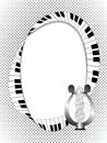 Musical frame with lyre and fingerboard on halftone background may be useful for invitation to a party festival recital fit for Stock Photography