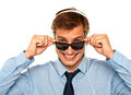 Musical guy peeping from sunglasses Stock Photography