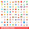 100 musical icons set, cartoon style