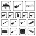 Musical instrument black icons in set collection for design. String and Wind instrument isometric vector symbol stock Royalty Free Stock Photo