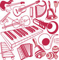 Musical instrument collection clip art of various types of Royalty Free Stock Photography