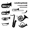 Musical instrument collection music wind instruments set silhouette on white background Stock Photography