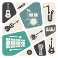 Musical instrument icons background Royalty Free Stock Images