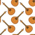 Musical instrument mandolin seamless background with mandolins cartoon vintage stringed instruments of troubadours and performers Royalty Free Stock Photos