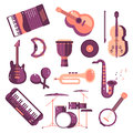 Musical instruments cartoon vector set synthesizer djembe drum violin saxophone accordion tambourine maracas trumpet drive