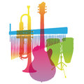 Musical Instruments. Colored Pop Art. Vector Royalty Free Stock Photo