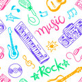 Musical instruments, flat icons and elements set seamless pattern