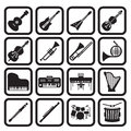 Musical instruments icon set