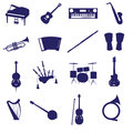Musical instruments icon set eps blue Stock Photography