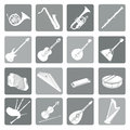 Musical instruments icon set. Folk, classical, jazz, ethnic, rock Royalty Free Stock Photo