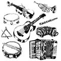 Musical instruments icons set classic orchestral hand drawn of guitar violin trumpet flute sketch vector isolated illustration Stock Photo