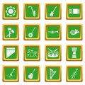 Musical instruments icons set green