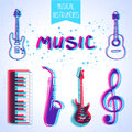 Musical instruments icons of with stylized effect d Stock Photography