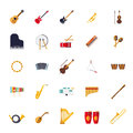 Musical Instruments Isolated Flat Design Vector Icons Collection Royalty Free Stock Photo