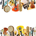 Musical instruments orchestra or a collage of music Stock Photos