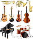 Musical instruments photo pealistic set Stock Photography