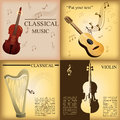 Musical instruments a set of colored backgrounds with different Royalty Free Stock Photos