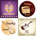 Musical instruments a set of colored backgrounds with text and different Stock Photos
