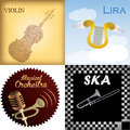 Musical instruments a set of colored backgrounds with text and different Royalty Free Stock Photography