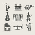 Musical instruments set of icons Royalty Free Stock Photo