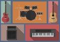 Musical instruments set.