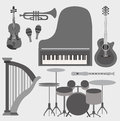 Musical instruments set vector illustration background Stock Photography