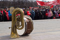 Musical instruments on stage on the may kirov russia citizens participate in rally of international workers day event in kirov Royalty Free Stock Photography