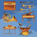 Musical instruments vector collection set of different in simple cartoon style Stock Photo