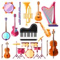 Musical instruments vector illustration. Colorful isolated icons and design elements set