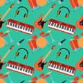 Musical instruments vector seamless pattern. Guitar synthesizer, drum, microphone, headphones for band. Flat design Royalty Free Stock Photo