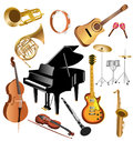 Musical instruments vector set of isolated on a white background Royalty Free Stock Images