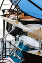 Musical kit of drums with cymbals ready for performance