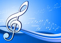 Musical note on abstract blue background Royalty Free Stock Photo