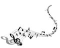 Musical note staff eps illustration without transparency Stock Photography
