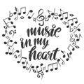 Musical notes in the form of a heart icon, love music, calligraphy text hand drawn vector illustration sketch