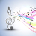 Musical notes with g-clef and colorful waves.