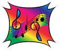 Musical notes on rainbow background a group of dancing and treble clefs a staff with color Royalty Free Stock Images
