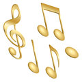 Musical notes a set of golden isolated on white Stock Photos