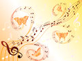 Musical notes on stave and flying butterflies various along hand drawing stylized vector illustration Stock Photos
