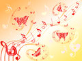 Musical notes on stave with hearts and butterflies various flying along hand drawing valentine vector illustration Royalty Free Stock Photos