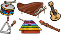 Musical objects cartoon illustration set of instruments clip art Stock Photos