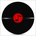 Musical plate is decorated by a note Royalty Free Stock Photo