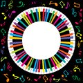 Musical poster with abstract colorful piano and musical notes Royalty Free Stock Photo