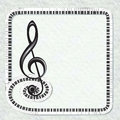 Musical poster with treble clef and keyboard frame Royalty Free Stock Photo