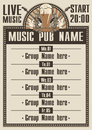Musical pub playbill for the with live music Royalty Free Stock Images