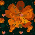 Musical rulers passing through the heart, music notes and signs, stars and elements in memphis style on orange cosmos flowers