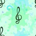 Musical seamless pattern beautiful vector with decorative treble clef Royalty Free Stock Images