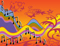 Musical song notes colorful